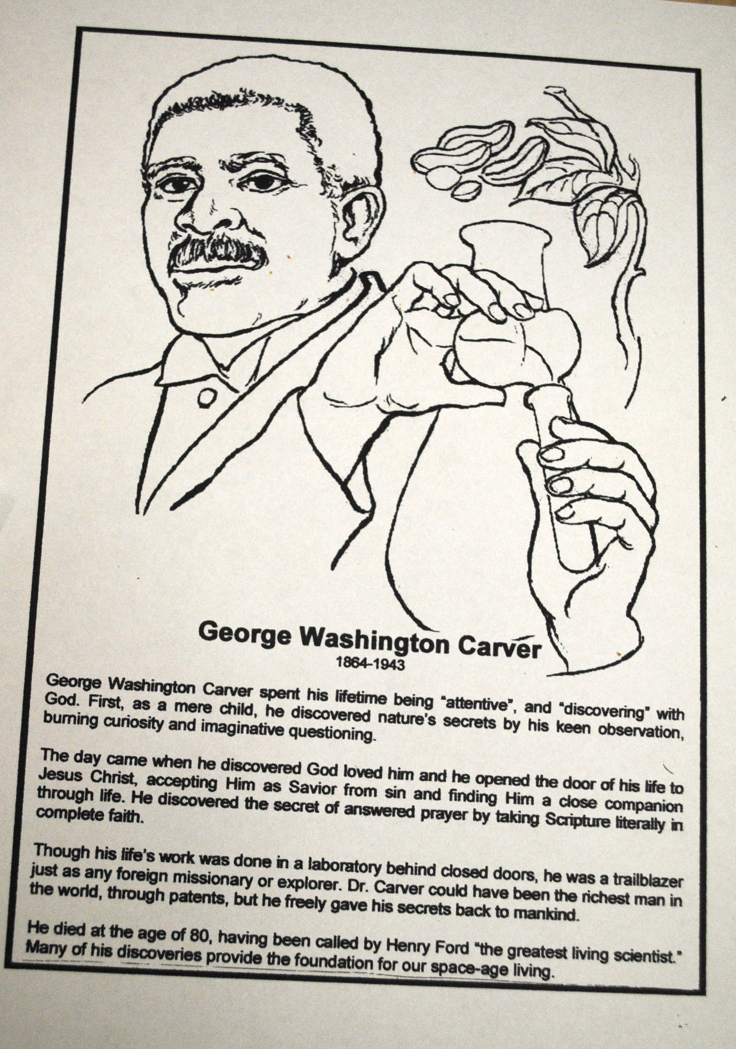 one page essay on george washington carver essay george washington carver coloring page sunshine on my shoulders peanuts potato heads teach attentiveness