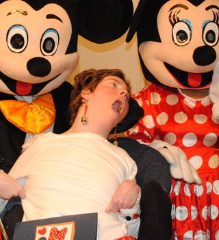 An Excited Lisa with Mickey and Minnie