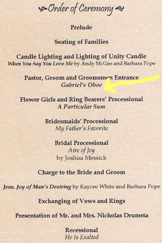 My Daughter 39s Wedding Program I Want You To See Her Music Selections